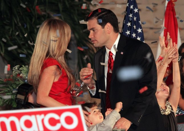 Florida Republican senator elect Marco Rubio and wife Jeanette celebrate his election during the Reclaim America Victory Celebration at the Biltmore Hotel in Miami on November 2, 2010. UPI/Martin Fried