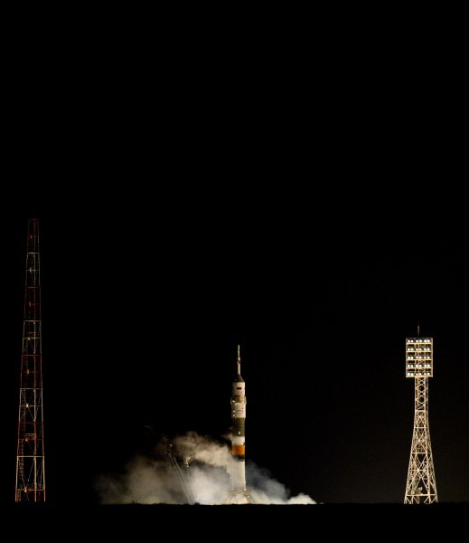 The Soyuz TMA-03M rocket launches from the Baikonur Cosmodrome in Kazakhstan on Wednesday, Dec. 21, 2011 carrying Expedition 30 Soyuz Commander Oleg Kononenko of Russia, NASA Flight Engineer Don Pettit and ESA (European Space Agency) astronaut and Flight Engineer Andre Kuipers to the International Space Station. UPI/NASA/Carla Cioffi