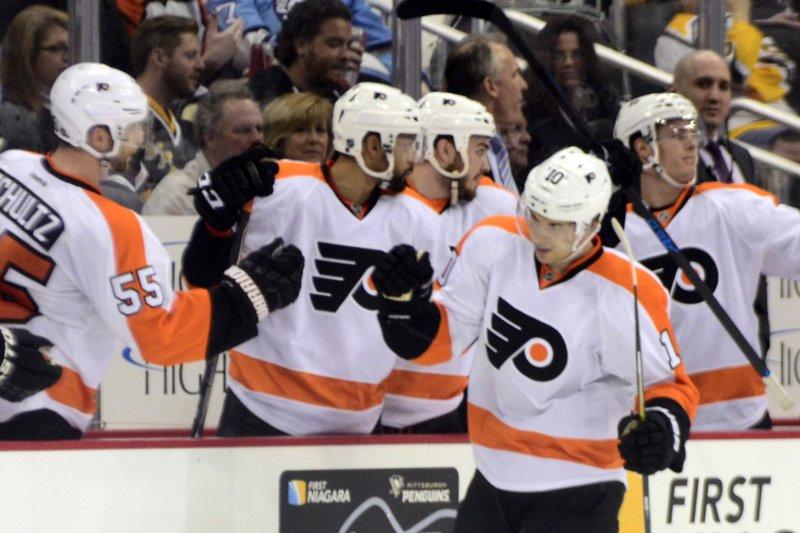 Philadelphia Flyers center Brayden Schenn (10) celebrates his goal with his teammates. Photo by Archie Carpenter/UPI