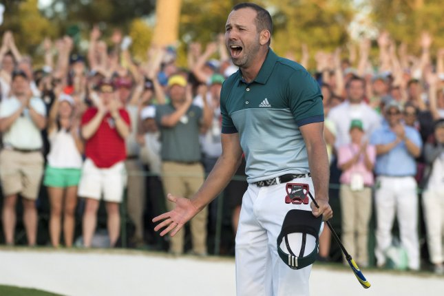 Sergio Garcia celebrates as he wins the 2017 Masters Tournament Sunday at Augusta National Golf Club in Augusta, Ga. Garcia beat out Justin Rose in a one hole playoff round. Photo by Kevin Dietsch/UPI.