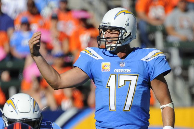 Los Angeles Chargers Philip Rivers calls a play against the Denver Broncos in the second half at the StubHub Center in Carson, California on October 22, 2017. The Chargers won 21 to 0. Photo by Lori Shepler/UPI