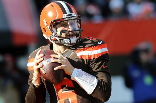 Cleveland Browns quarterback Baker Mayfield looks to throw against the Atlanta Falcons on November 11 at First Energy Stadium in Cleveland. Photo by Aaron Josefczyk/UPI