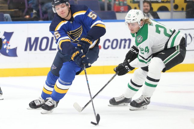 Dallas Stars forward Roope Hintz (R) had two goals in the Stars' Game 4 win Wednesday night. He opened the scoring with a power-play goal in the first period. File Photo by Bill Greenblatt/UPI