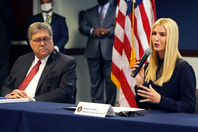 Attorney General William Barr and presidential adviser Ivanka Trump announced nearly $101 million in grants for programs combatting human trafficking during an event in Atlanta on Monday. Photo by Tami Chappell/UPI