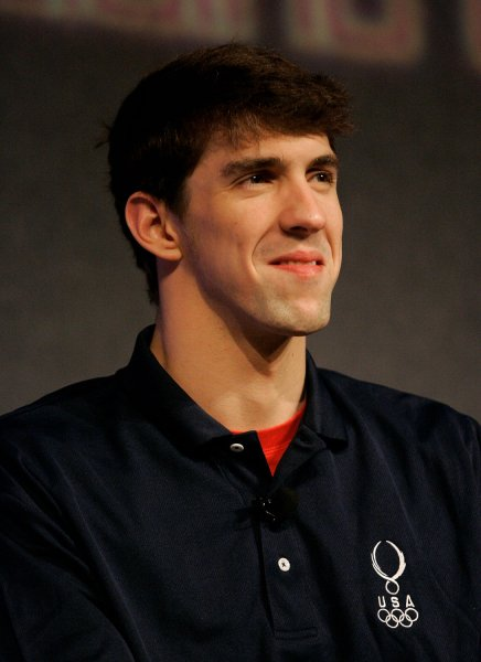 Swimmer Michael Phelps smiles during a news conference at the 2008 U.S. Olympic Team Media Summit on April 14, 2008. (UPI Photo/Brian Kersey)