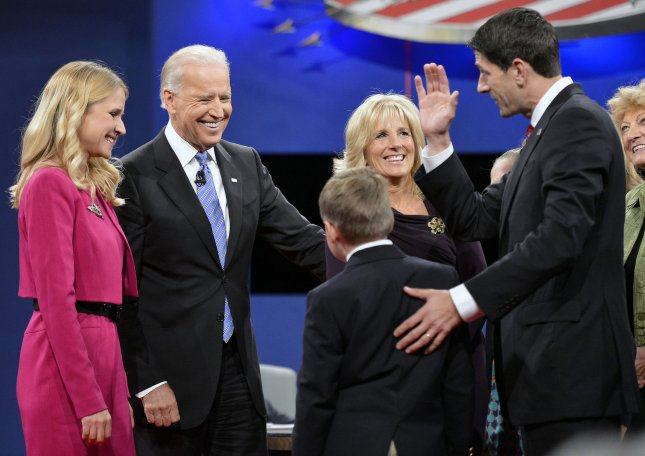 Janna Ryan (L), Vice-President Joe Biden, Dr. Jill Biden talk with Republican Vice-President nominee Paul Ryan as the debate ends at the Vice-Presidential debate at Centre College on October 11, 2012 in Danville, Kentucky. UPI/Brian Kersey
