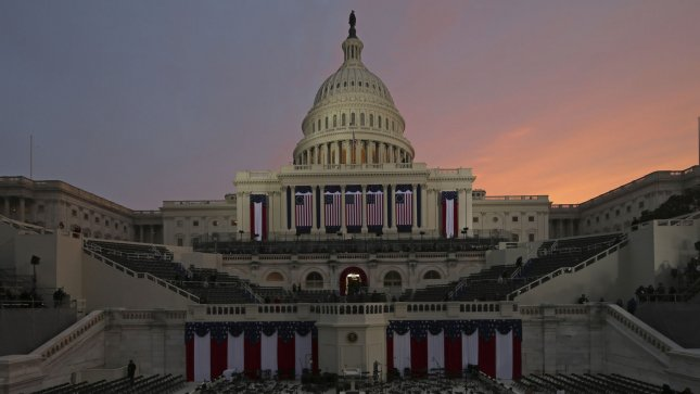 The sunrises early in the morning before the ceremonial swearing-in of President Barack Obama at the U.S. Capitol during the 57th Presidential Inauguration in Washington, Monday, Jan. 21, 2013. UPI/Scott Andrews/Pool