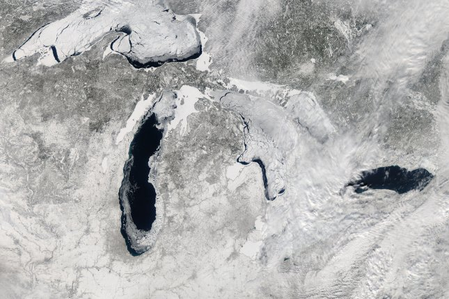 This NASA image taken on February 19, 2014 by the the Moderate Resolution Imaging Spectroradiometer (MODIS) aboard NASA's Aqua satellite shows the Great Lakes 80% frozen over during one of the hardest freeze-ups in four decades. North America's Great Lakes peaked at 88.42% on February 12-13 – a percentage not recorded since 1994. The ice extent has surpassed 80% just five times in four decades. The average maximum ice extent since 1973 is just over 50%. UPI/NASA