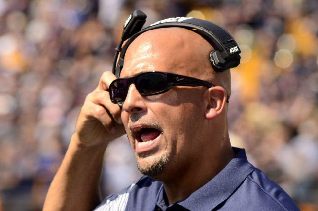 Penn State Nittany Lions head coach James Franklin on the sidelines in the first quarter against the Pittsburgh Panthers at Heinz Field in Pittsburgh on September 10 , 2016. Photo by Archie Carpenter/UPI