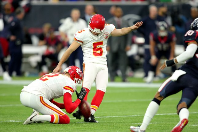 Kansas City Chiefs kicker Cairo Santos (5). Photo by Erik Williams/UPI
