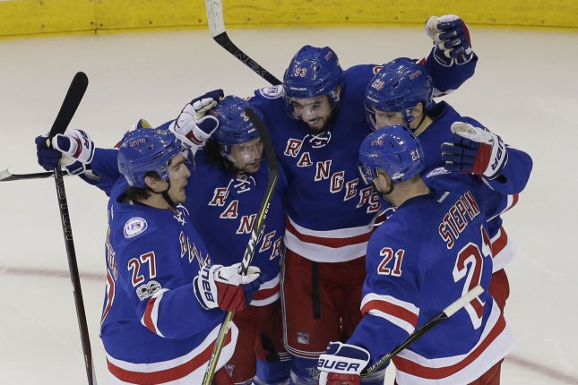 Derek Stepan and Ryan McDonagh scored the first two goals, and Antti Raanta made 30 saves as the New York Rangers defeated the Los Angeles Kings 3-0 on Saturday. File Photo by John Angelillo/UPI