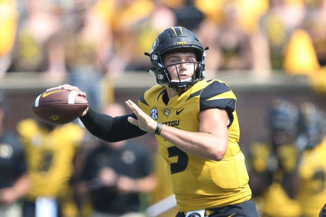 Missouri quarterback Drew Lock passes the football in the third quarter against Missouri State on September 2, 2017 at Faurot Field in Columbia, Missouri. Photo by Bill Greenblatt/UPI