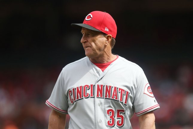 Cincinnati Reds manager Jim Riggleman looks to his bullpen after making a pitching change in the sixth inning against the St. Louis Cardinals on April 21 at Busch Stadium in St. Louis. Photo by Bill Greenblatt/UPI