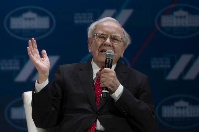 Berkshire Hathaway CEO Warren Buffett has recovered from economic losses in the insurance industry last year and recorded his largest stake in a single company with his investment in Apple, which became America's first trillion dollar publicly-traded company Thursday. File Photo by Molly Riley/UPI