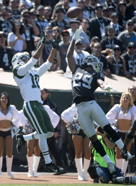 New York Jets receiver Jermaine Kearse goes up for a touchdown reception during a game against the Oakland Raiders last season. Photo by Terry Schmitt/UPI