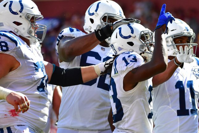 Indianapolis Colts wide receiver T.Y. Hilton (13) celebrates after bringing in a 3-yard touchdown against the Washington Redskins during their game at FedEx Field in Landover, Maryland on Sept. 16, 2018. Photo by Kevin Dietsch/UPI