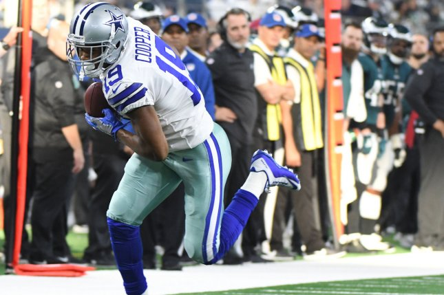 Dallas Cowboys wide receiver Amari Cooper makes a 27-yard catch against the Philadelphia Eagles during their NFL game on Sunday at AT&T Stadium in Arlington, Texas. Photo by Ian Halperin/UPI