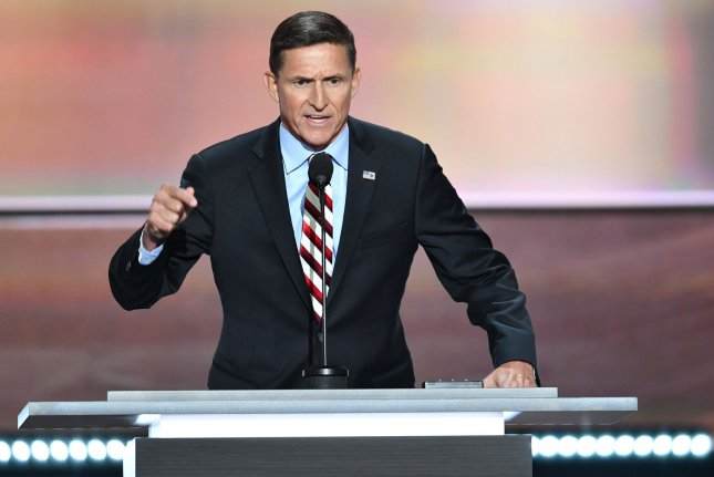 Lt. Gen. Michael Flynn speaks during the Republican National Convention in Cleveland on July 18, 2016, when he led a lock her up Hillary Clinton chant because of how the Democratic presidential contender dealt with her emails while serving as secretary of state. His lawyers have asked a federal judge for no prison time after pleading guilty of lying to the FBI. Photo by Kevin Dietsch/UPI