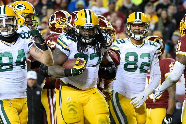 Former Green Bay Packers running back Eddie Lacy (C) did not play last season after signing a one-year deal with the Seattle Seahawks in 2017. File Photo by David Tulis/UPI