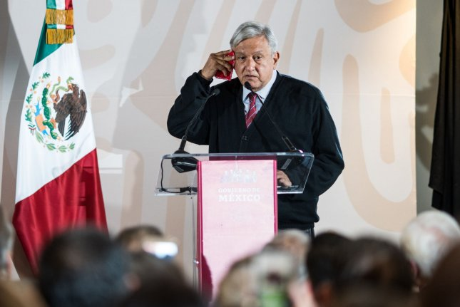 Mexican President Andres Manuel López Obrador is seen speaking in 2019 at the Hotel Lucerna in Tijuana, Mexico. The Mexican leader said on Sunday that he's tested positive for the coronavirus disease. File Photo by Ariana Drehsler/UPI