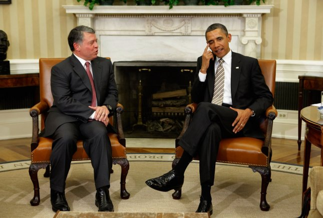 U.S. President Barack Obama (R) and Jordan's King Abdullah II will meet April 26 at the White House. 2012 file photo. UPI/Chip Somodevilla/Pool