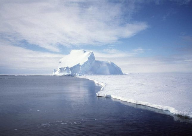 For millions of years, Antarctica, the frozen continent at the southern end of the planet, has been encased in a gigantic sheet of ice. Recently, the Gravity Recovery and Climate Experiment (GRACE) satellite has been taking sensitive measurements of the gravity for the entire Earth, including Antarctica. Recent analysis of GRACE data indicate that the Antarctic ice sheet might have lost enough mass to cause the worlds' oceans to rise about .05 inches, on the average, from between 2002 and 2005. The picture was taken on the Riiser-Larsen ice shelf in December 1995. (UPI Photo/NASA/GRACE team/DLR/Ben Holt Sr.)
