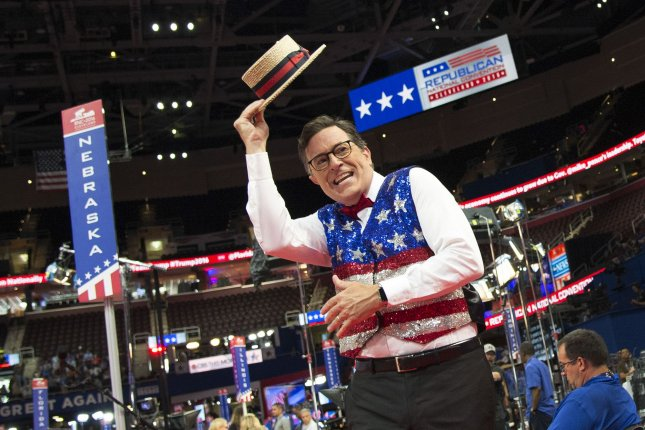 Stephen Colbert, host of the The Late Show on CBS, records a skit for his show on the floor of the Republican National Convention in Cleveland, on July 17, 2016. File Photo by Kevin Dietsch/UPI