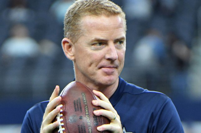 Dallas Cowboys head coach Jason Garrett throws the ball prior to a game against the Detroit Lions at AT&T Stadium in Arlington, Texas on September 30, 2018. Photo by Ian Halperin/UPI