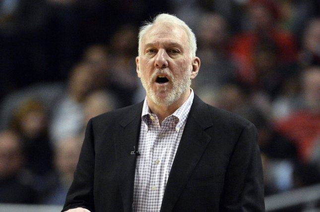 San Antonio Spurs head coach Gregg Popovich has coached the Spurs for 23 seasons. He hinted at a 24th year in San Antonio on Monday. File Photo by Brian Kersey/UPI