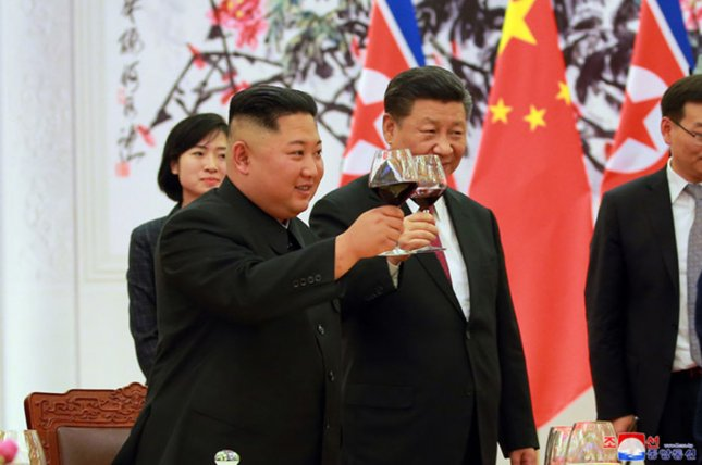 Chinese leader Xi Jinping (R) has met with North Korea's Kim Jong Un four times. File Photo by KCNA/UPI