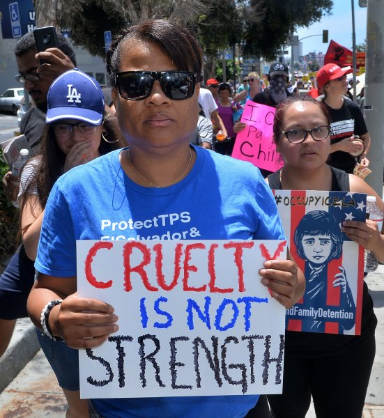 Activists in Los Angeles, Calif., attend a march on July 21, 2018, to protest the Trump administration's treatment of migrants at the southern border and inside federal facilities. File Photo by Jim Ruymen/UPI