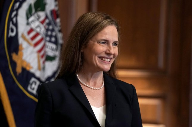 The Senate voted 51-48, mostly along party lines, to break a Democratic filibuster of Amy Coney Barrett's nomination to the Supreme Court on Sunday. Pool Photo by Greg Nash/UPI