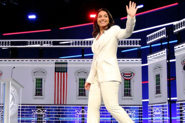 Rep. Tulsi Gabbard, D-Hawaii, shown at the Democratic presidential primary debate in Atlanta on November 20, 2019, co-sponsored a bill targeting Title IX. Photo by Tami Chappell/UPI