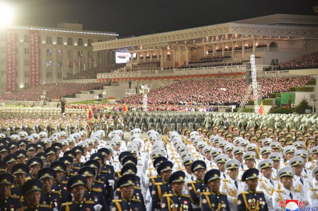 North Korea held a nighttime military parade, South Korean government sources said Thursday. Pyongyang previously held a predawn parade in October on the 75th anniversary of the Korean Workers' Party. File Photo by KCNA/UPI