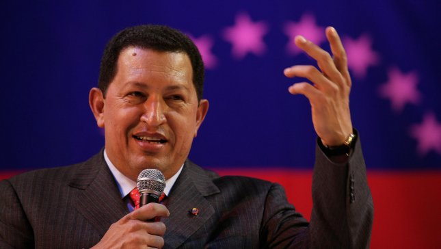 Venezuelan President Hugo Chavez speaks to supporters at a rally in London hosted by London mayor Ken Livingstone at Camden town Hall in London on Sunday May 14 2006. Mr Chavez is in London for a two-day visit where he will meet British dignitaries and trade union leaders.(UPI Photo/Hugo Philpott)