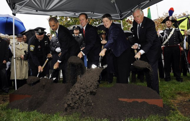 Boston Officer Tom Griffiths, Attorney General Eric Holder, National Law Enforcement Officers Memorial Fund Chairman and CEO Craig Floyd, Secretary of Homeland Security Janet Napolitano and House Majority Leader Steny Hoyer, D-MD, (L to R) break ground on the National Law Enforcement Officers Memorial Museum in Washington on October 14, 2010. UPI/Roger L. Wollenberg