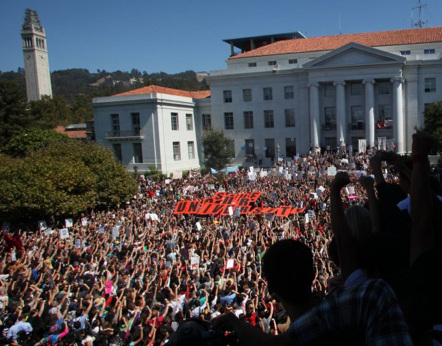 FLASHBACK: Students and faculty attend a noontime rally in Sproul Plaza on the University of California campus in Berkeley, California on September 24, 2009. Students held a one day walkout to protest layoffs and tuition increases. UPI/Terry Schmitt