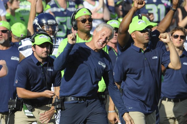 Seattle Seahawks head coach Pete Carroll celebrates at the end of the game as they defeat the Los Angeles Rams at the Memorial Coliseum in Los Angeles, California on October 8, 2017. Seattle won 16 to 10. Photo by Lori Shepler/UPI