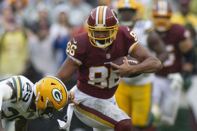 Washington Redskins tight end Jordan Reed (breaks a tackle during a game against the Green Bay Packers at FedEx Field in Landover, Maryland on September 23, 2018. Photo by Alex Edelman/UPI