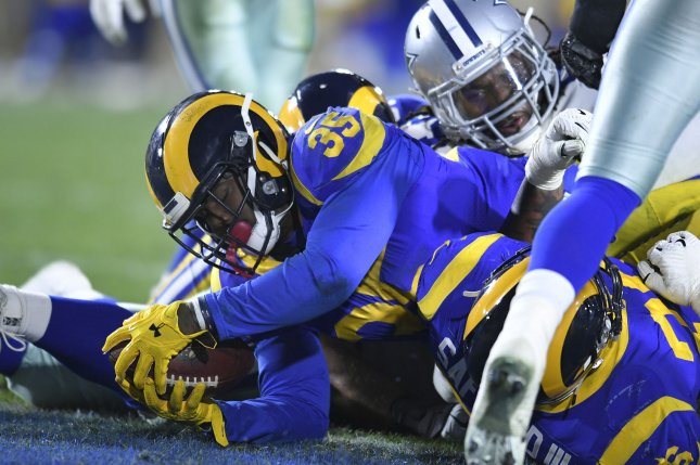 Los Angeles Rams running back C.J. Anderson scores a touchdown in the first half against the Dallas Cowboy in a divisional-round playoff game at The Coliseum in Los Angeles, California on January 12, 2019. Photo by John McCoy/UPI