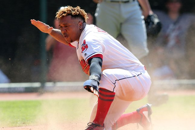 Cleveland Indians 3B Jose Ramirez is the latest player on the Tribe that has suffered an injury, as he left Sunday's game against the White Sox after fouling a ball off his left knee and was carted off the diamond. File Photo by Aaron Josefczyk/UPI