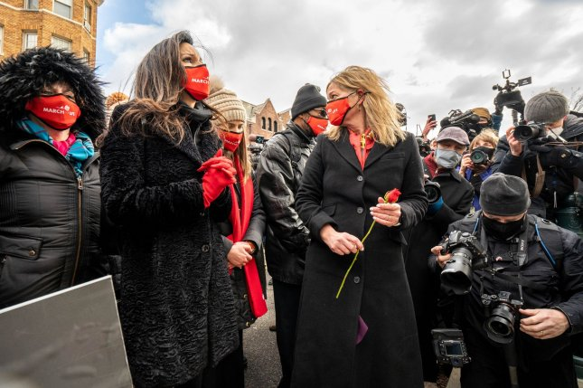 Anti-abortion activists gather behind the Supreme Court in Washington, D.C. on January 29. Photo by Ken Cedeno/UPI
