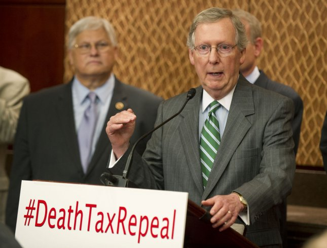 Conservative senators are strangely silent on whether they'll back Senate Minority Leader Mitch McConnell, R-Ky., in his primary fight against a Tea Party-backed candidate. File photo. UPI/Kevin Dietsch