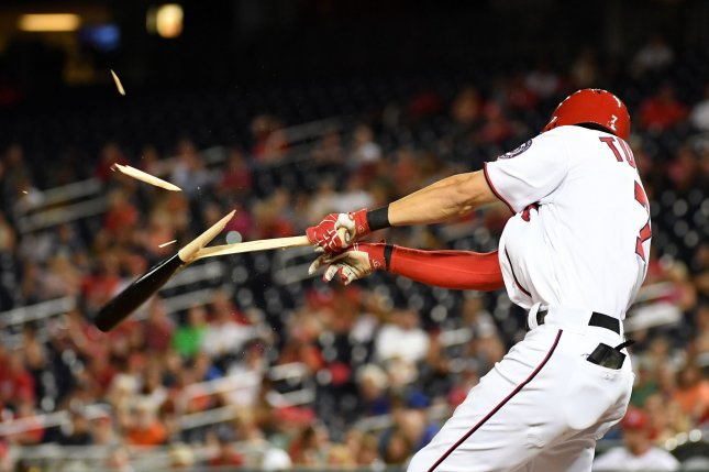 Washington Nationals Trea Turner connects for an RBI single sending home Ben Revere against the Atlanta Braves in the eighth inning at Nationals Park in Washington, D.C. on September 6, 2016. Turner is a finalist for the NL Rookie of the Year award. Photo by Kevin Dietsch/UPI