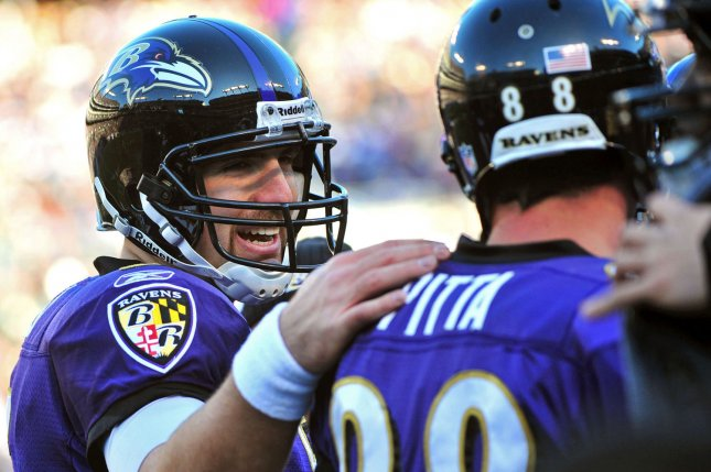 Baltimore Ravens quarterback Joe Flacco and teammate Dennis Pitta got together to watch ABC's The Bachelorette on Monday. File photo by Kevin Dietsch/UPI