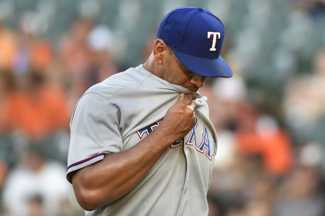 Texas Rangers starting pitcher Tyson Ross feels the heat after a six-run Baltimore Orioles first inning at Camden Yards in Baltimore, July 18, 2017. File photo by David Tulis/UPI