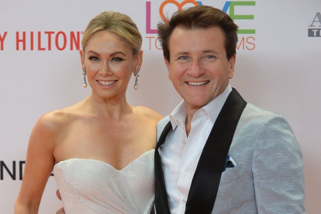 Kym Johnson (L) and Robert Herjavec welcomed twins Monday. File Photo by Jim Ruymen/UPI