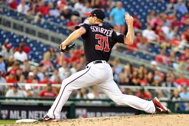 Washington Nationals starting pitcher Max Scherzer (31) pitches against the Tampa Bay Rays in the fifth inning on June 5, 2018 at Nationals Park in Washington, D.C. Photo by Kevin Dietsch/UPI