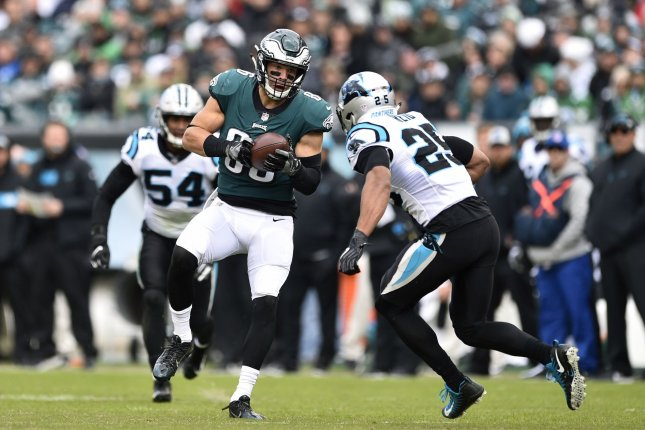 Philadelphia Eagles tight end Zach Ertz (86) makes a catch before he is hit by Carolina Panthers strong safety Eric Reid (25) during the second quarter on October 21, 2018 at Lincoln Financial Field in Philadelphia. Photo by Derik Hamilton/UPI