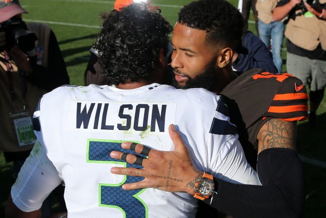 Seattle Seahawks quarterback Russell Wilson threw two touchdown passes and had a rushing touchdown in a win against the Cleveland Browns Sunday in Cleveland. Odell Beckham Jr. (R) had a game-high 101 receiving yards for the Browns. Photo by Aaron Josefczyk/UPI